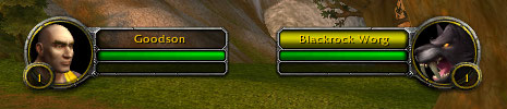 Default unit frames showing the player, a human warrior, and the target, a wolf